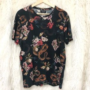ZARA MAN Flowers and Snakes T-Shirt
